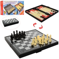 Набор 3в1 Магнитная доска Magnetspel Шахматы Шашки Нарды, 24х24см, S2029