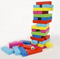 Настольная игра Дженга Цветные блоки , 48 брусков