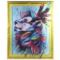 Алмазная мозаика 40х50 Круглые стразы Лев