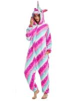 Пижама Кигуруми Звездный Единорог Полосатый Розово-Голубой размер М (160-170см)
