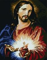 Алмазная мозаика 40х50 Квадратные стразы Святейшее сердце Иисуса Христа