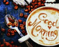 Алмазная мозаика 40х50 Квадратные стразы Чашка утреннего кофе
