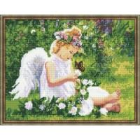 Алмазная мозаика 40х50 Круглые стразы Ангелочек