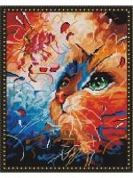 Алмазная мозаика 40х50 Круглые стразы Кот в абстракции