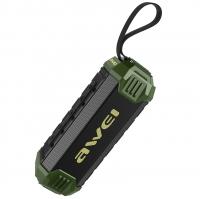 Влагозащищенная беспроводная колонка Awei Y280 (Bluetooth, MP3, AUX, Mic) Green
