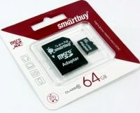 Карта памяти Smart Buy MicroSD 64Gb Class 10 с SD адаптером