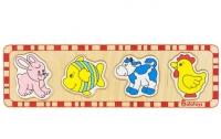 Пазлы для малышей Заяц, рыбка, корова, петух