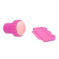 Штамп для стемпинга + скрапер Розовый маленький