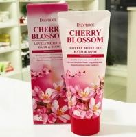 Питательный крем для рук и тела придает коже нежный аромат цветущей вишни 100мл Cherry Blossom Lovery Moisture Hand&Body Deoproce
