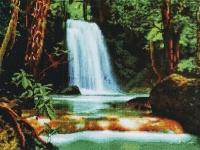 Алмазная мозаика 40х50 Квадратные стразы Водопад в Лесу
