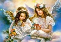 Алмазная мозаика 40х50 Круглые стразы Подарок от ангела