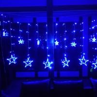 Гирлянда Штора Звезды LED RGB Five-pointed Star Сине-голубое свечение