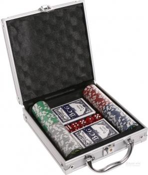 Набор для игры в Покер 100 фишек + 2 колоды в металлическом боксе