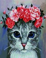 Алмазная мозаика 40х50 Квадратные стразы Котик с венком