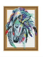 Алмазная мозаика 40х50 Круглые стразы Индейская лошадь