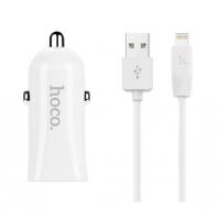 Автомобильное зарядное устройство с кабелем Hoco Z12 Elite Dual USB (Lighting) charger set