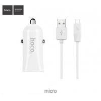 Автомобильное зарядное устройство с кабелем Hoco Z12 Elite Dual USB (Micro usb) charger set