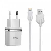 Зарядное уст-во с кабелем Носо C12 2.4A Smart dual USB (Lighting cabel 1m) charger set