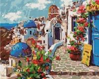 Алмазная мозаика 40х50 Квадратные стразы Весна в Санторини