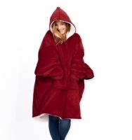 Плед Huggle с капюшоном Ultra Plush Blanket Hoodie Красный