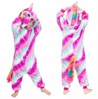 Пижама Кигуруми Звездный Единорог Полосатый Розово-Голубой размер 125-140см