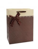 """Подарочный пакет """"С бантиком / Горошек"""" 45*32*12 см"""