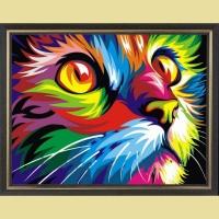 Алмазная мозаика 40х50 Круглые стразы Радужный кот