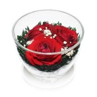 Цветы в вакууме Розы Красные 3шт CuSR3(высота6,диаметр 8,5)