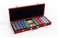 Покерный набор в деревянном кейсе 500 фишек, сукно + 2 колоды