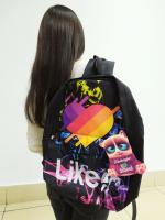 Рюкзак Лайки 3D Черный (принт Дым Розово-Голубой) с жесткой спиной