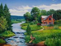 Картина по номерам GX 4245 Домик у реки 40*50