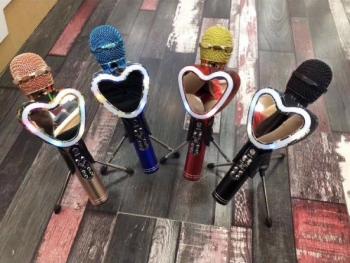 Караоке микрофон Wster Q5 с Led подсветкой в виде Сердца