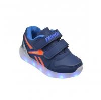 Светящиеся кроссовки Микаса сине-оранжевые р-р 22 W299-1