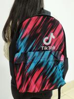 Рюкзак Тик Ток 3D Черный (принт Розово-Голубой) с жесткой спиной