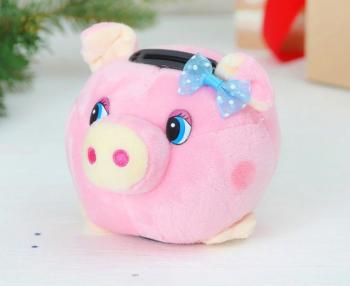 Мягкая игрушка - Копилка Свинка со звуком, малый р-р