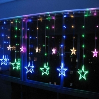 Гирлянда Штора Звезды LED RGB Five-pointed Star Цветное свечение