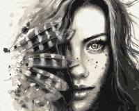 Картина по номерам ZX 23493 Девушка в перьях 40*50